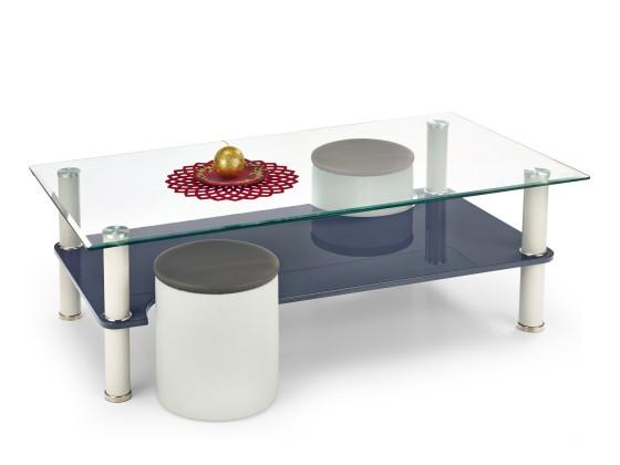 Sklenený Monica - Konferenčný stolík (svetle sivá/tmavo sivá)