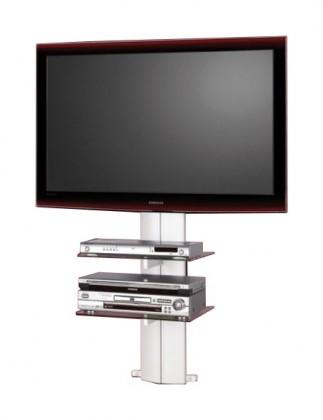 Sklenený Orion 1 - TV stolík s držiakom (strieborná/číré sklo)