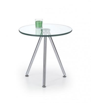 Sklenený Solo - Konferenčný stolík kruhový (transp. sklo, chrom)