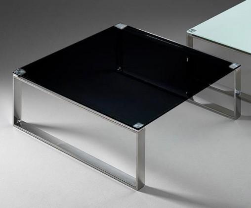Sklenený Stain - Konferenčný stolík (čierna, 80x80 cm)