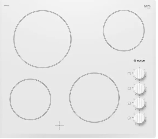 Sklokeramická varná doska Bosch, 4 zóny, 60 cm, biela