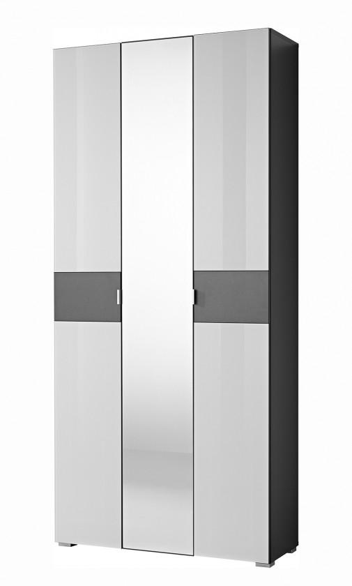 Skriňa GW-Alameda - Skrin so zrkadlem (antracit/biela)