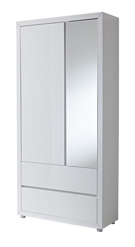 Skriňa GW-Fino - Skrin,2x dvere,2x šuplík,zrkadlo (biela)