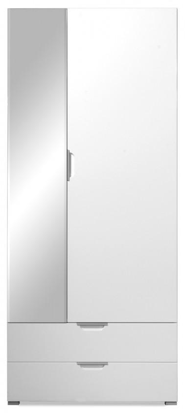 Skriňa GW-Gala - Skriňa se zrkadlem, 2x zásuvka, 4x police (biela)