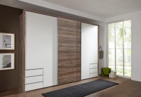 Skriňa Seattle - 270/208/64 cm, posuvné dvere (biela/dub muddy)