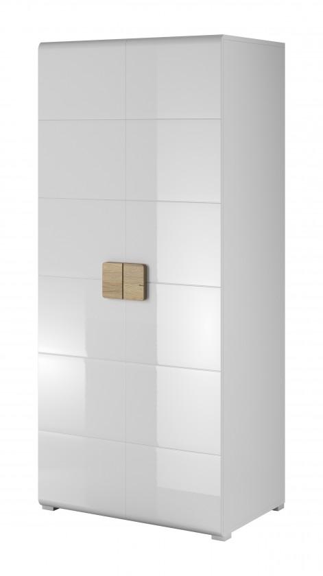 Skriňa Toledo - Obývacia skriňa, 2 dvere (biela, dub san remo)