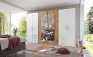 Skriňa Verdena - 313/210/58 cm, klasické dvere (biela-dub)