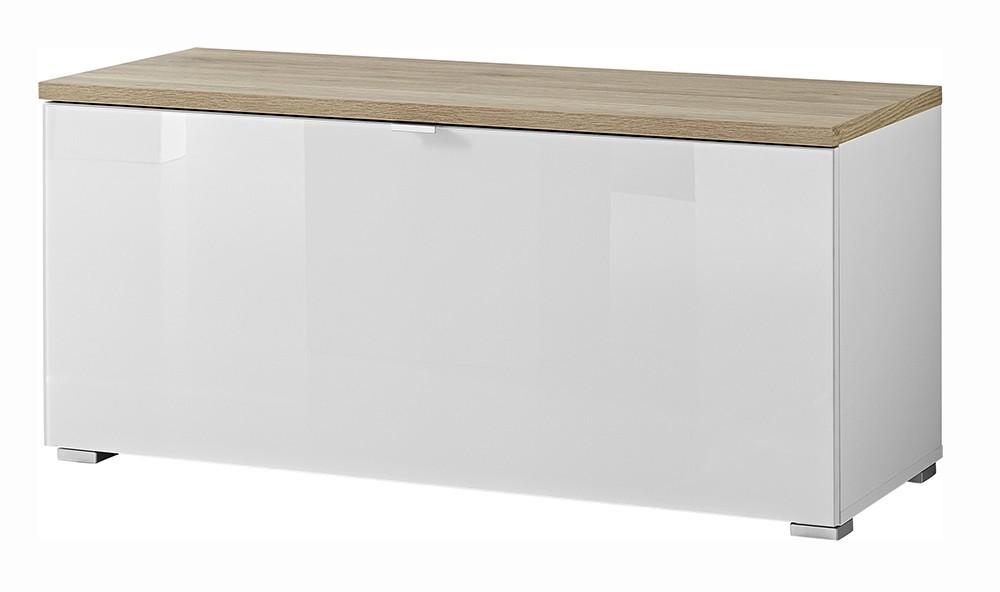 Skrinka na topánky GW-Alameda - Botník,1x výklopné dvere (biela/dub sanremo)