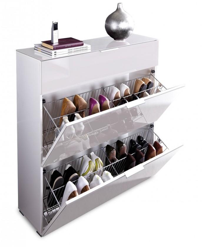 Skrinka na topánky GW-Primera-skrinka na topánky,2xvýklopné dvere,1xšuplík (biela)