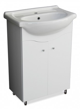 Skrinka SU 33 s umývadlom 55cm (biela, vysoký lesk)