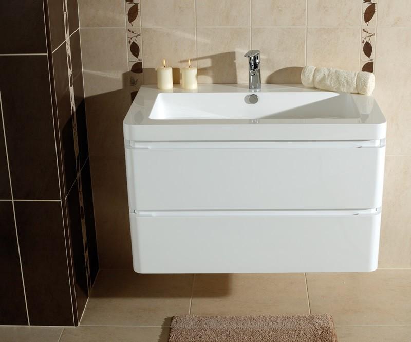 Skrinky s umývadlom Kúpeľňová skrinka s umývadlom Praya závesná 85x53x48, biela,lesk