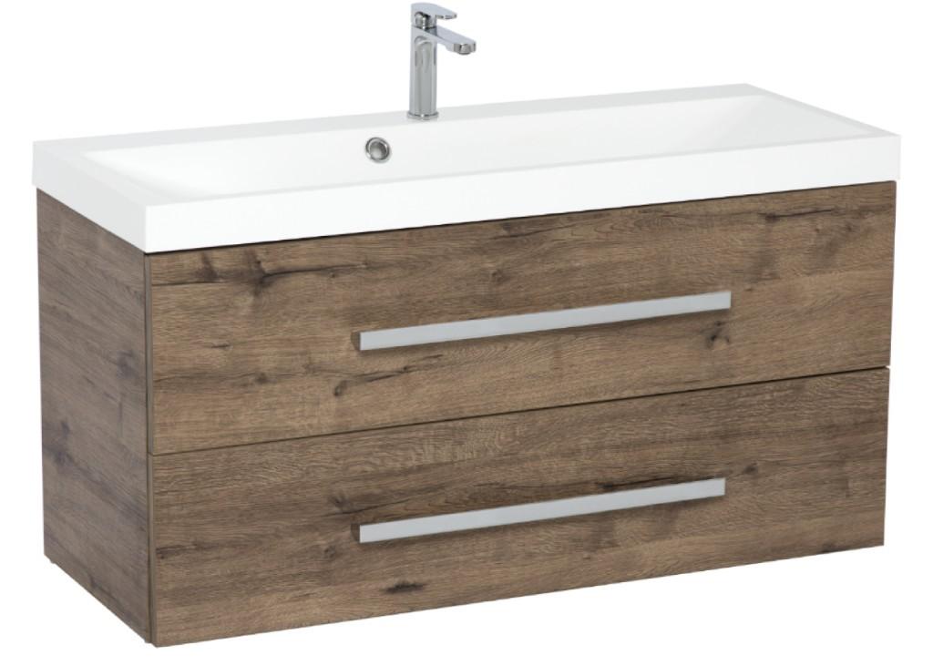 Skrinky s umývadlom Kúpeľňová skrinka s umývadlom Tiera závesná (100x53x40 cm, dub)