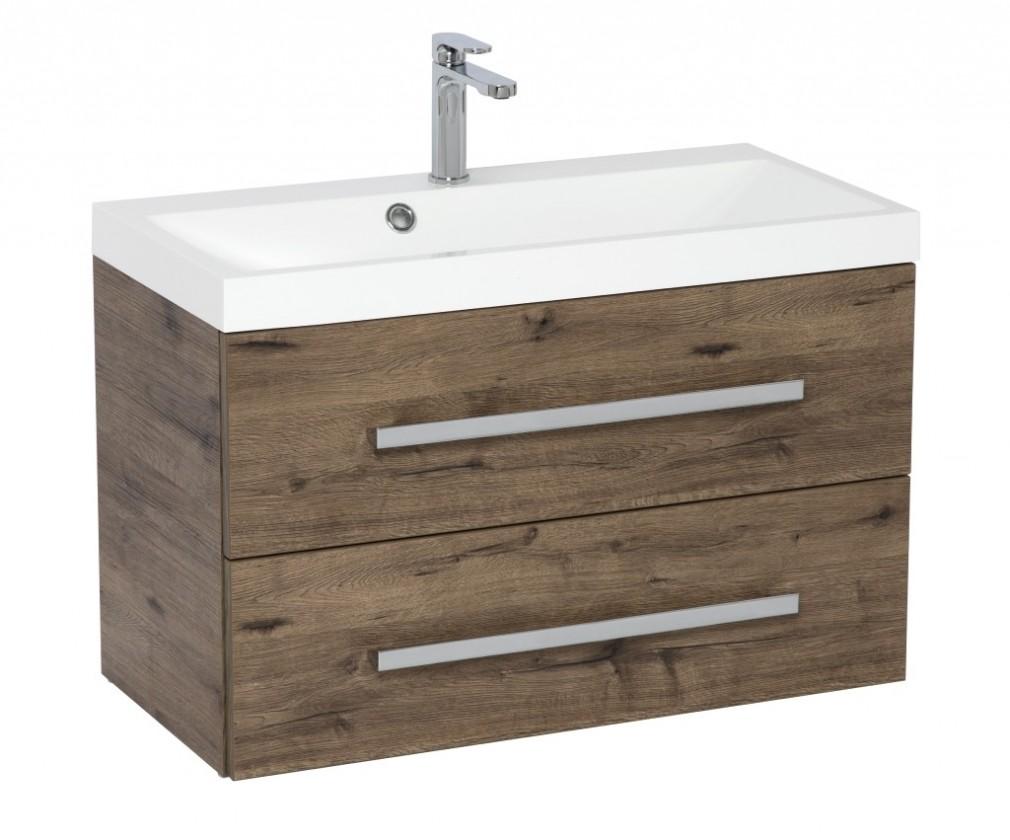 Skrinky s umývadlom Kúpeľňová skrinka s umývadlom Tiera závesná (80x53x40 cm, dub)