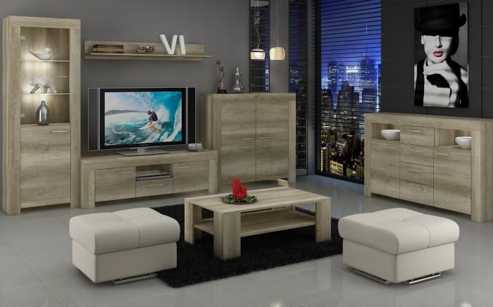 Sky - Obývacia stena, 2x komoda, stolík, svetlo (country sivá)