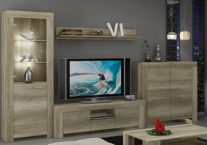 Sky - Obývacia stena, komoda, RTV stolík, svetlo (country sivá)