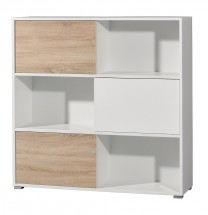 Slide - regál s posuvnými dverami, 119 cm (biela/dub sonoma)