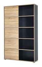 Slide - regál s posuvnými dverami, 196 cm (antracit/dub sonoma)