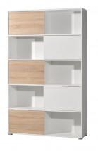 Slide - regál s posuvnými dverami, 196 cm (biela/dub sonoma)