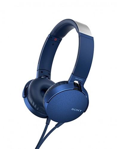 Slúchadlá cez hlavu Sony MDR-XB550APL, modré