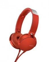 Slúchadlá cez hlavu Sony MDR-XB550APR, červené