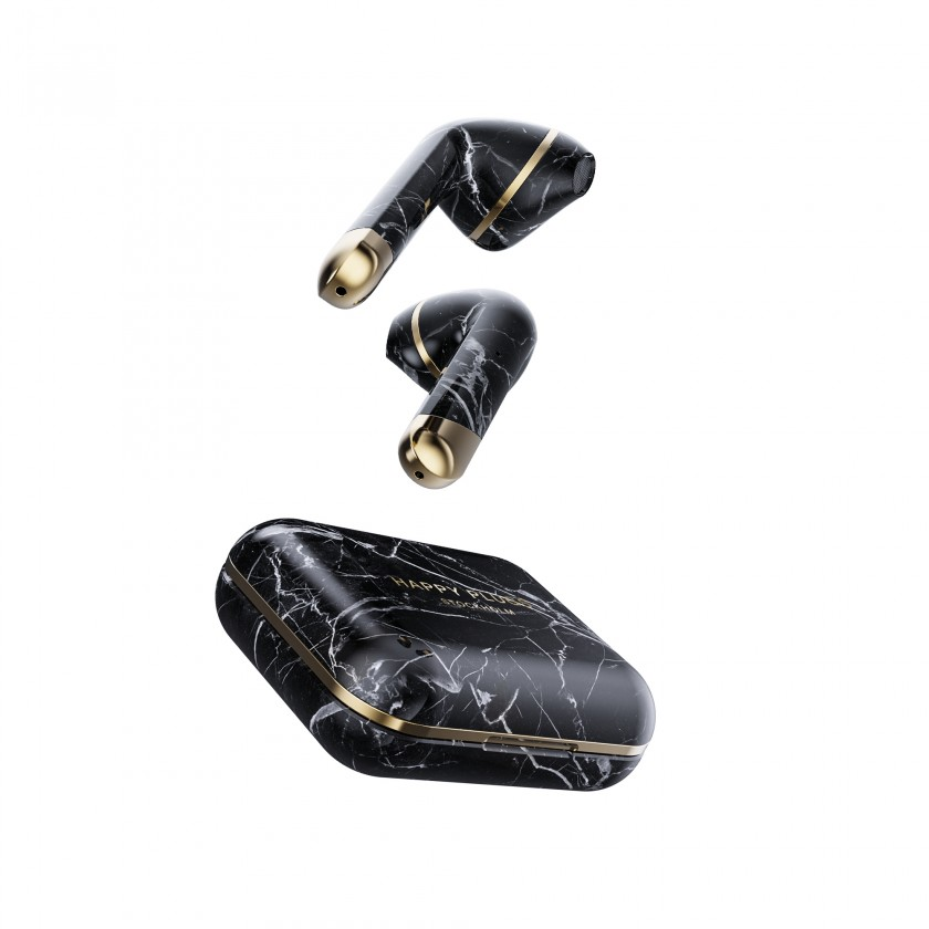 Slúchadlá s mikrofónom Happy Plugs Air1 Black Marble