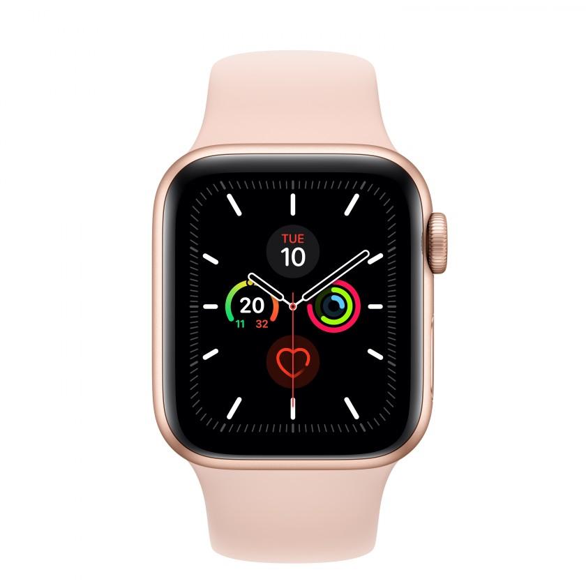 Smart hodinky Apple Watch Series 5 GPS, 40mm, zlatá, športový remienok