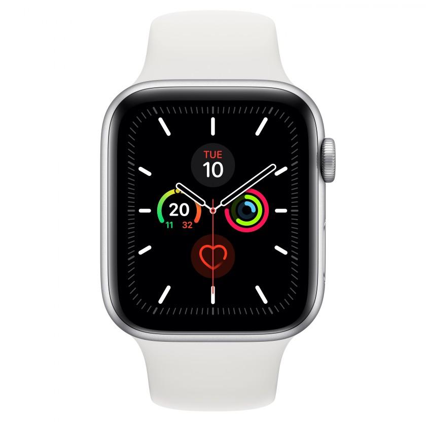 Smart hodinky Apple Watch Series 5 GPS, 44mm, strieborná, športový remienok