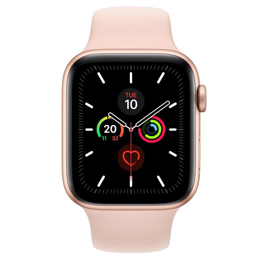 Smart hodinky Apple Watch Series 5 GPS, 44mm, zlatá, športový remienok