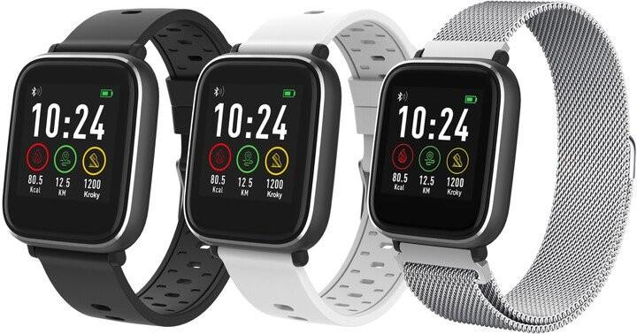 Smart hodinky Chytré hodinky iGET Fit F3, 3 remienky, strieborná