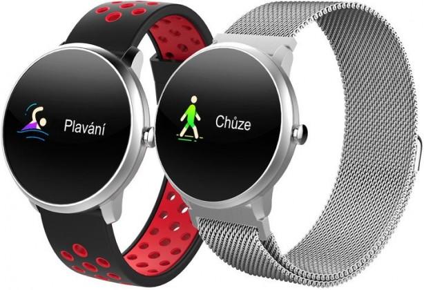 Smart hodinky Chytré hodinky iGET Fit F4, 2 remienky, strieborná