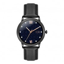 Smart hodinky Deveroux CF 18, kožený remienok, čierna