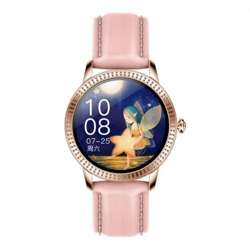 Smart hodinky Deveroux CF 18, kožený remienok, ružové