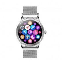 Smart hodinky Deveroux CF 18, kožený remienok, strieborné