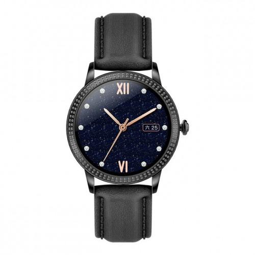 Smart hodinky Deveroux CF18 Pro, kožený remienok, čierna