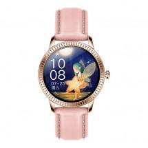 Smart hodinky Deveroux CF18 Pro, kožený remienok, ružová
