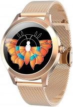 Smart hodinky Deveroux KW10 Pre, milánsky remienok, zlatá