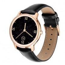 Smart hodinky Deveroux R18, kožený remienok, čierna