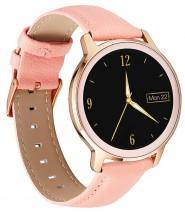 Smart hodinky Deveroux R18, kožený remienok, ružová