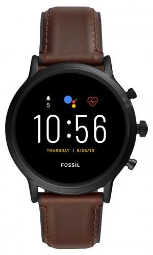 Smart hodinky Fossil Carlyle, čierna/hnedý kožený remienok