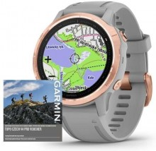 Smart hodinky Garmin Fenix 6S Pro Sapphire, sivé/ružové