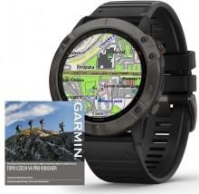 Smart hodinky Garmin Fenix 6X Pro Sapphire, čierna/sivá