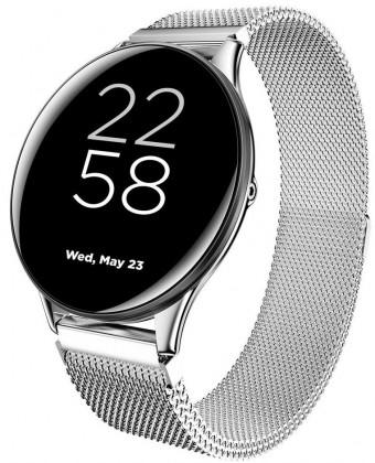 Smart hodinky Smart hodinky Canyon Lemongrass, kovový remienok, strieborná