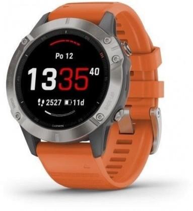 Smart hodinky Smart hodinky Garmin Fenix 6 Pro Sapphire, oranžová/titán