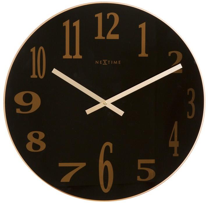 Smoky Mirror - hodiny , nástenné, guľaté (sklo, čierne)