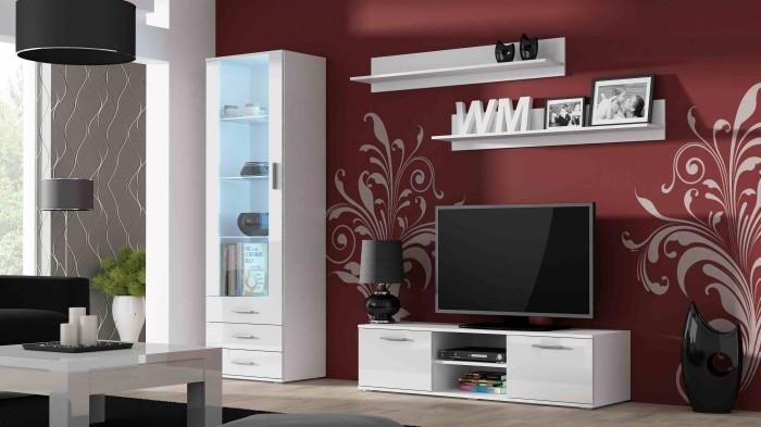 Soho HJ20 - Obývacia stena (čierna mat / biela vysoký lesk)