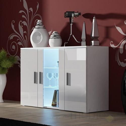 Soho - Obývačková komoda, sklo (biela mat/biela vysoký lesk)