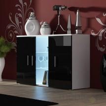 Soho - Obývačková komoda, sklo (biela mat/čierna vysoký lesk)