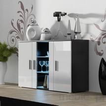 Soho - Obývačková komoda, sklo (čierna mat/biela vysoký lesk)