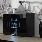 Soho - Obývačková komoda, sklo (čierna mat/čierna vysoký lesk)