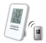 Solight bezdrôtový teplomer, čas, budík, biely, TE44